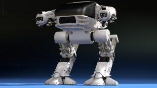 futuristischer Kampfroboter. wenn er als Staubsauger ausgeliefert werden würde könnte es ein QualityLand Charakter sein.